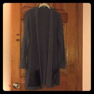 Ann Taylor Grey Cardigan with Leather Pockets
